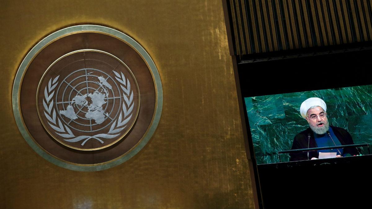 El presidente de Irán, Hasan Rohani, ante la Asamblea General de la ONU.