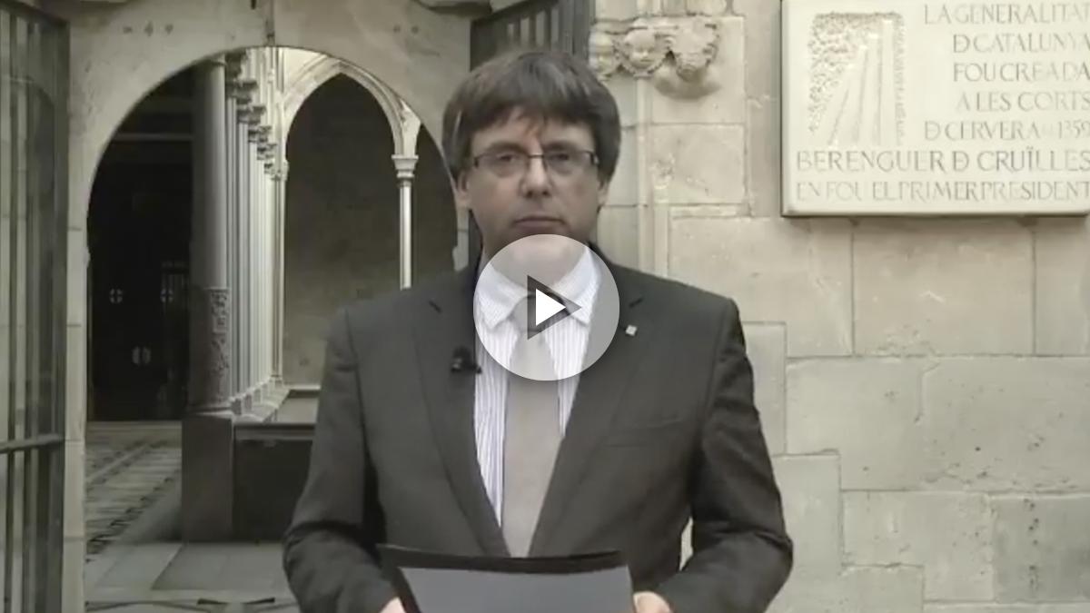 Carles Puigdemont durante su mensaje