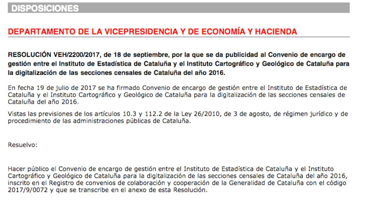 El Govern publica un encargo para digitalizar y actualizar el censo de Cataluña a diez días del 1-O (Foto: Diari Oficial de la Generalitat)