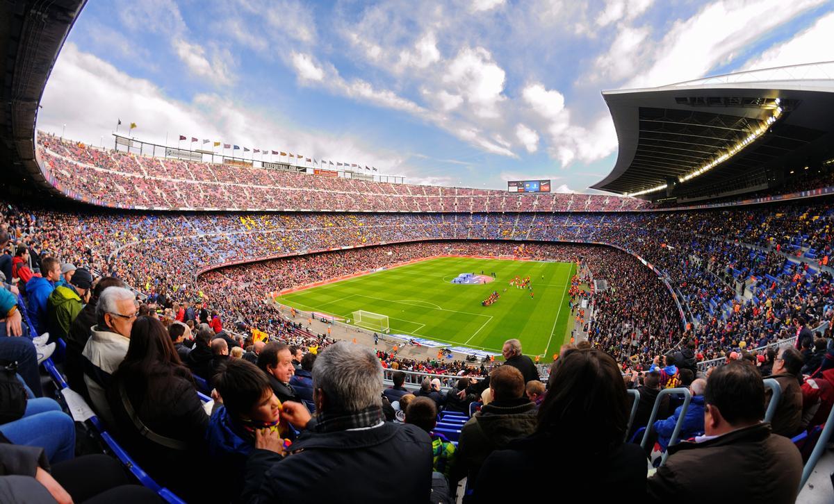 Imagen panorámica del Camp Nou.