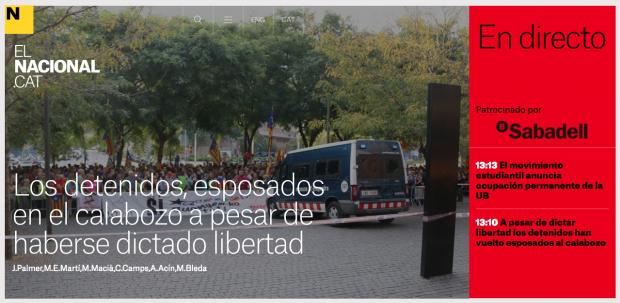 Banco Sabadell financia la web independentista 'ElNacional' que hace apología del golpe de Estado del 1–0