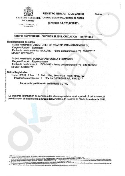 Liquidación del Grupo Empresarial Chickies SL en el Registro mercantil.