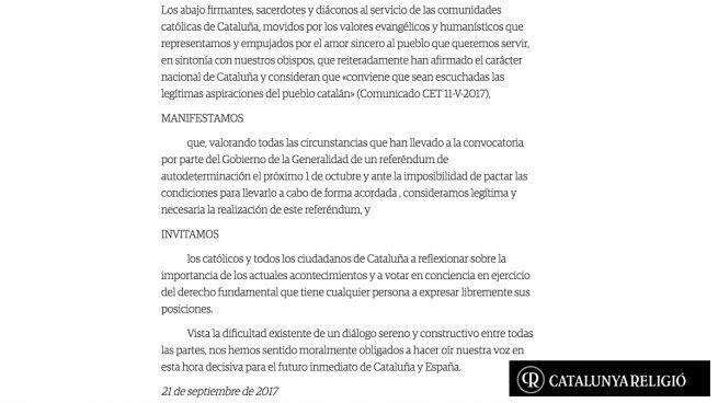 """Más de 300 sacerdotes catalanes defienden que es """"legítimo y necesario"""" votar el 1-O"""