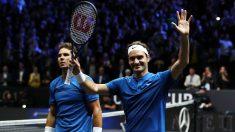 Nadal y Federer, tras vencer el partido. (Getty)