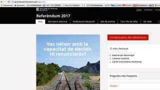 Página web falsa del referéndum ilegal.