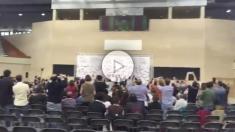 Asamblea bolivariana de Podemos en Zaragoza a favor del referéndum ilegal de independencia de Cataluña.