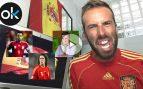 """Okjeda grita """"¡viva España!"""" con Xavi, Pujol y Wyoming"""