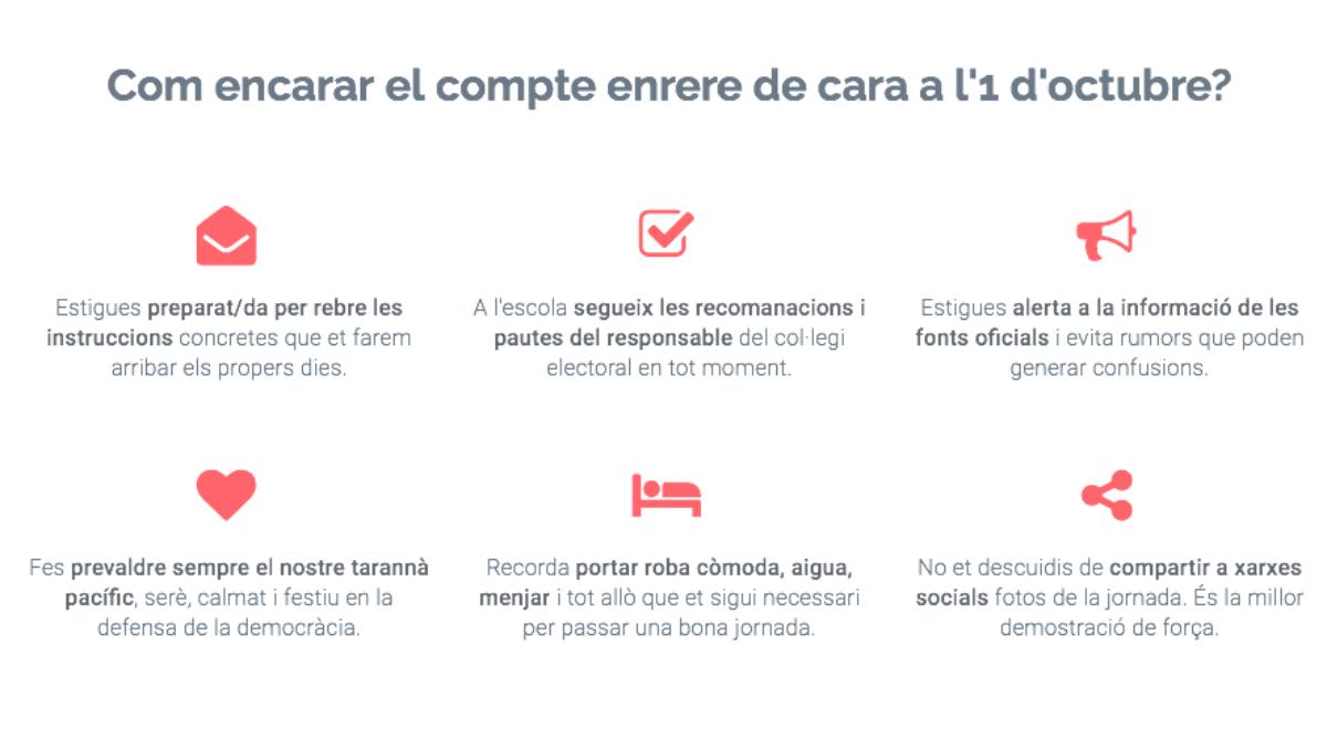 Instrucciones a los voluntarios que formarán los cordones humanos en los colegios electorales el 1-O.