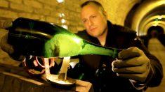 Examinando una botella de champán