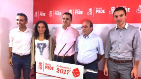 José Manuel Franco junto a otros dirigentes del PSOE madrileño tras ser elegido.