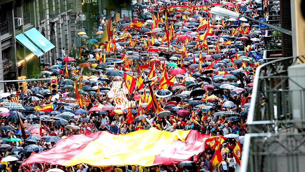 Manifestación en Barcelona por la unidad de España.