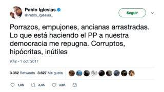 Pablo Iglesias, en su Twitter, contra la Policía y con el golpe independentista.