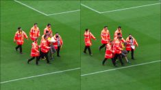 Un espontáneo saltó al Camp Nou.
