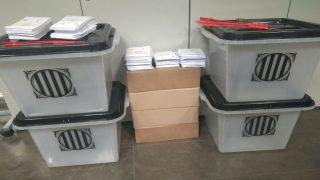 Urnas requisadas del referéndum ilegal del 1-O en Cataluña