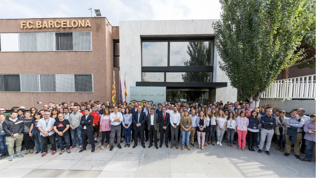 Los trabajadores del Barça en las oficinas del club. (fcbarcelona.cat)