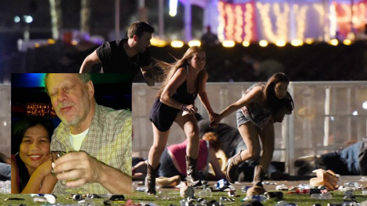 Tres asistentes al festival de Country huyen del tiroteo en las inmediaciones de un casino de Las Vegas. Y una foto del autor del tiroteo. Foto: AFP