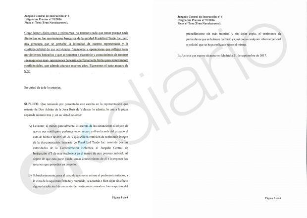 Escrito del empresario Adrián de la Joya remitido al instructor del caso Lezo.