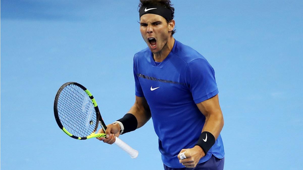Rafa Nadal celebra su victoria ante Pouille en Pekín. (Getty)