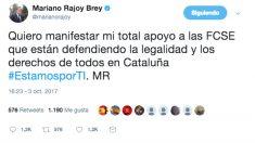 """El tuit en el que Mariano Rajoy expresa su """"total apoyo"""" a las fuerzas de seguridad en Cataluña"""