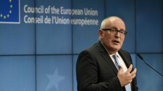 El vicepresidente primero de la Comisión Europea y responsable de Estado de Derecho, Frans Timmermans. (Foto: AFP)