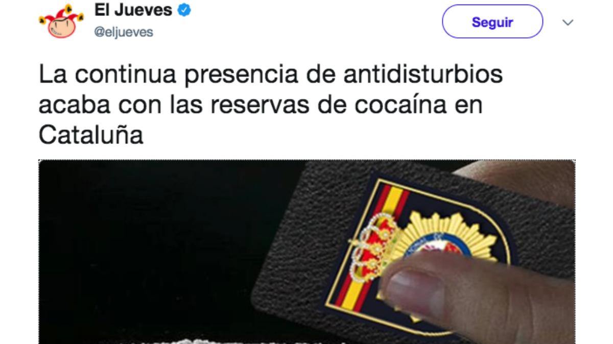 Tuit publicado por la revista satírica El Jueves sobre los antidisturbios que actuaron el 1-O en Cataluña.