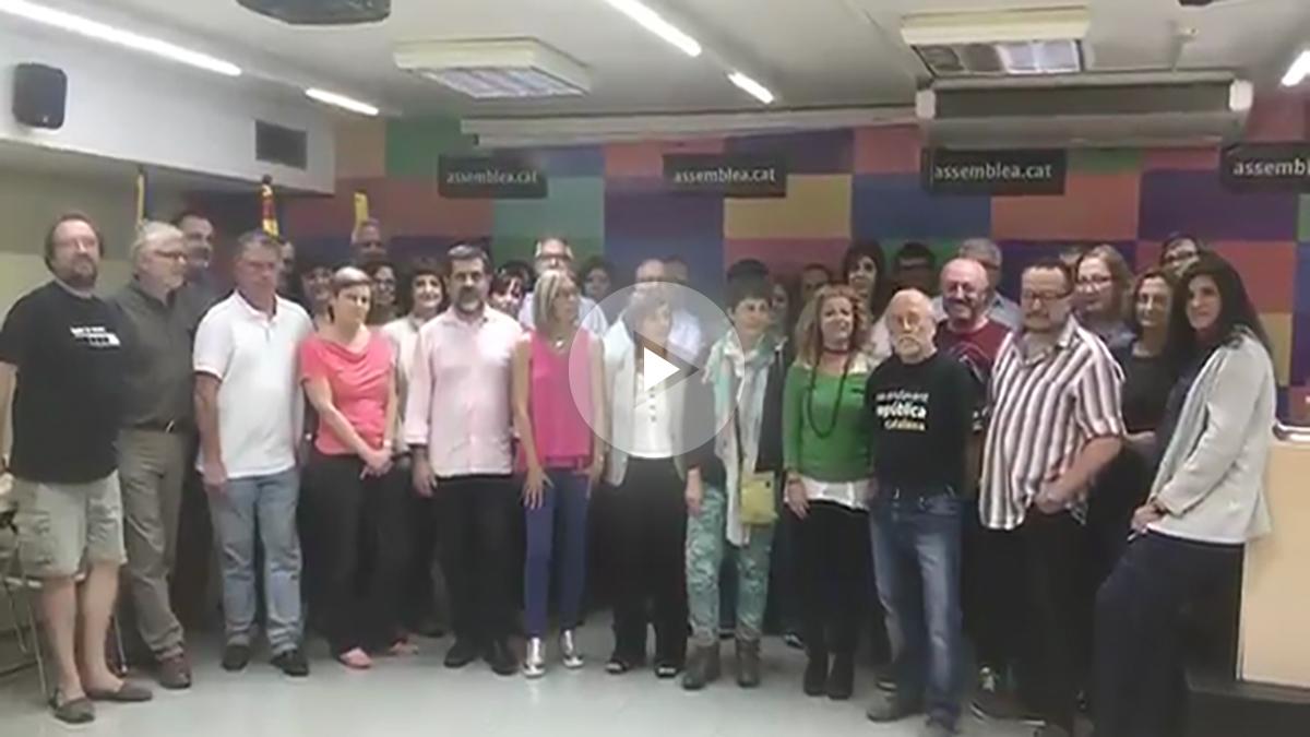 El secretariado de la ANC, con Jordi Sánchez a la cabeza, advirtiendo a Puigdemont.