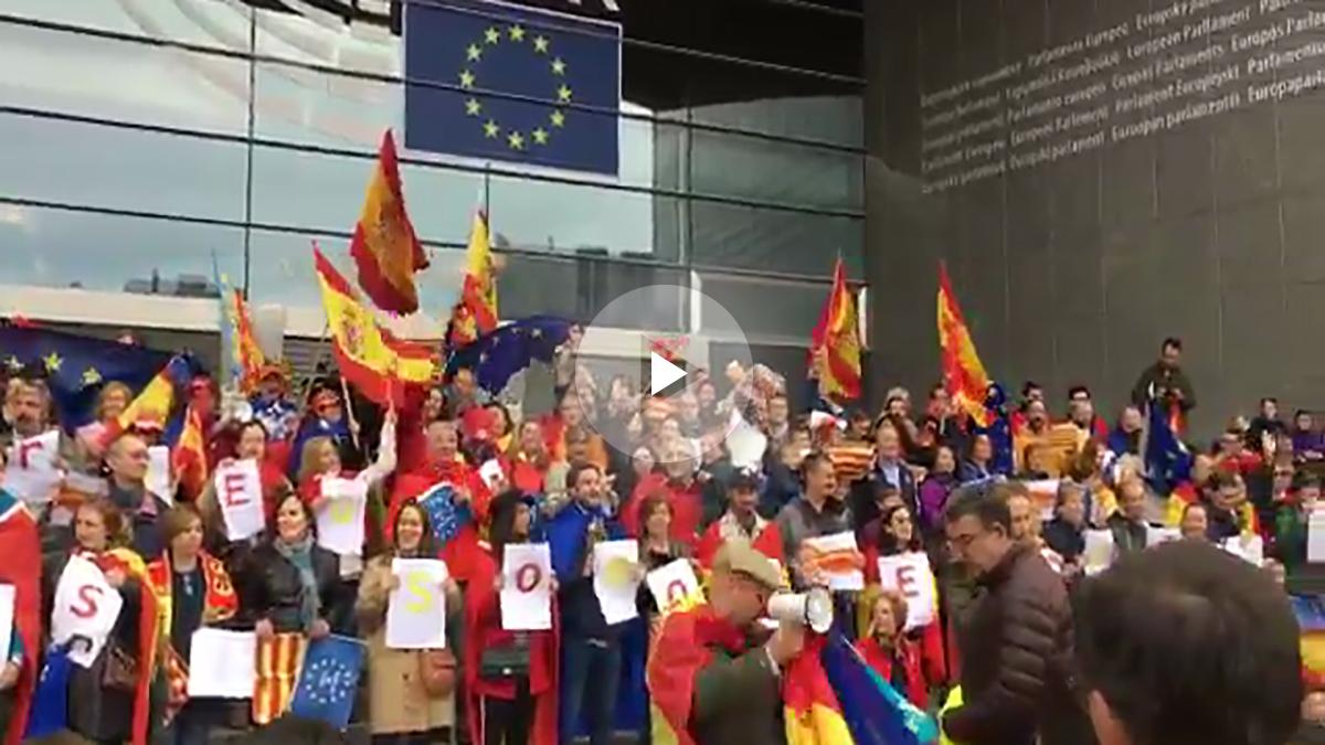 Españoles en Bruselas se manifiestan a favor de la Constitución ante el Parlamento europeo.
