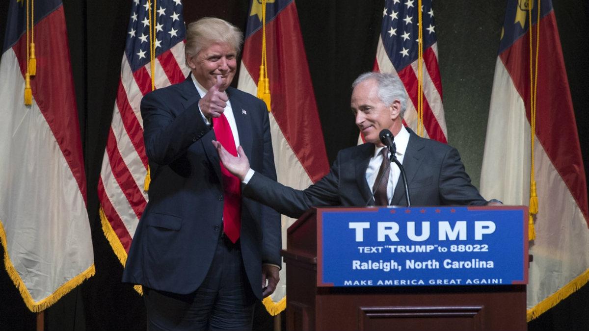 El senador republicano Bob Corker, durante la campaña presidencial de Donald Trump.