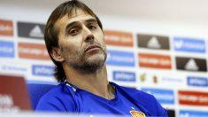 Lopetegui, durante una rueda de prensa con España. (Foto: EFE)