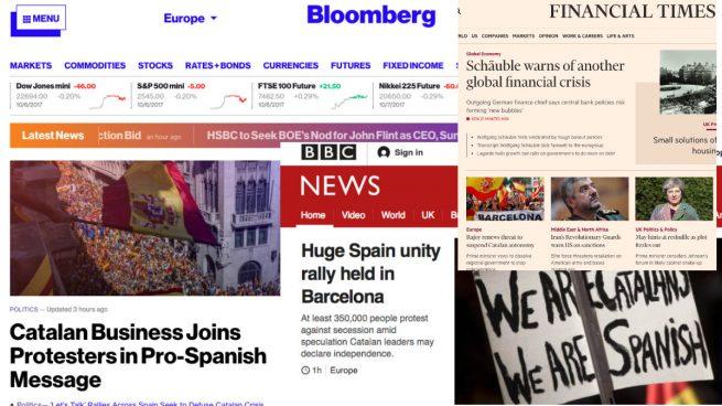"""La prensa de medio mundo destaca """"el desfile"""" de """"un millón de catalanes que quieren ser españoles"""""""