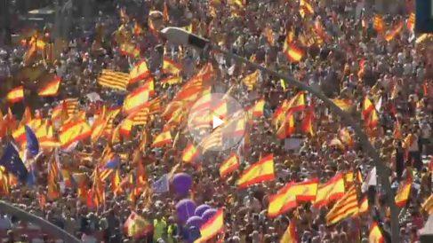 Manifestación de Barcelona por la unidad de España. (Foto: Twitter)