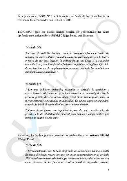 Denuncia contra Puigdemont,Trapero, Junqueras, Forcadell y Colau