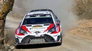 El Toyota Yaris en plena acción en el Rally de Catalunya (Iván Fernández)