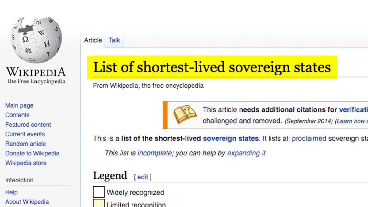 Wikipedia con Cataluña en lista estados con una soberanía más corta