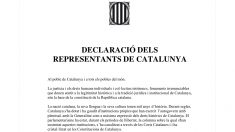 El texto firmado por los diputados de JxSí y la CUP en el Parlament sobre la DUI