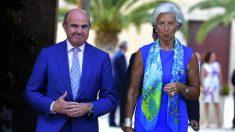 Luis de Guindos, vicepresidente del BCE, y Christine Lagarde, futura presidenta del banco central
