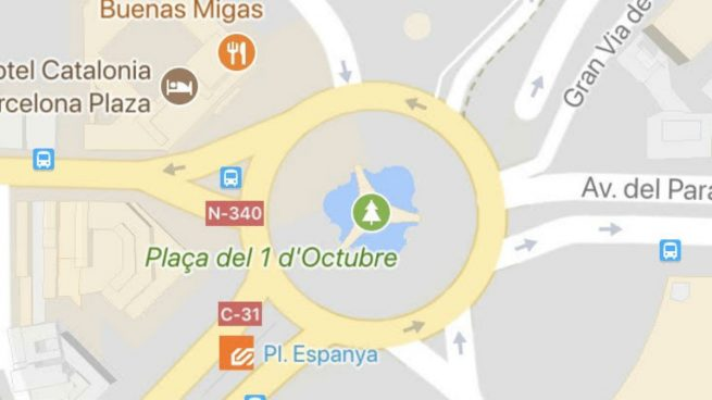 La Plaza de España de Barcelona aparece bautizada en Google Maps como 'del 1 de octubre'