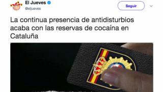 El tuit de la revista 'El Jueves' en el que insinúan que los policías consumen cocaína.