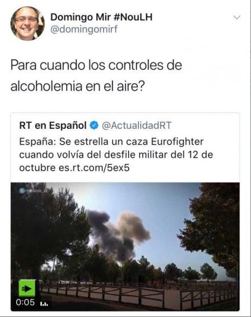 """Un cargo de ERC se burla del accidente del Eurofighter: """"¿Para cuándo controles de alcoholemia en el aire?"""""""