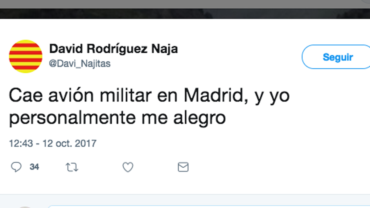Uno de los tuiteros que se alegran de la muerte de Borja Aybar.