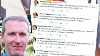 El vicepresidente del Cercle Català de Negocis, David Fernández, junto a los tuits que ha publicado.