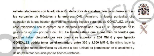 Informe de la UCO recogido en el sumario del caso Lezo.