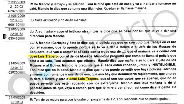 """Las grabaciones al narco Carbajo: """"Mañana como con Trapero, el de los Mossos"""""""