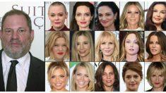 Harvey Weinstein junto las fotografías que han denunciado haber sufrido acoso sexual por su parte. Foto: AFP