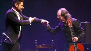 Miguel Poveda y Pepe Habichuela el viernes en el Circo Price.  (Foto. Getty)