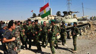 Tropas de combatientes peshmerga kurdos en Irak.