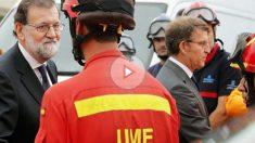 Mariano Rajoy y Alberto Núñez-Feijóo dan su apoyo al personal encargado de la extinción de los incendios en Galicia. (Foto: EFE)