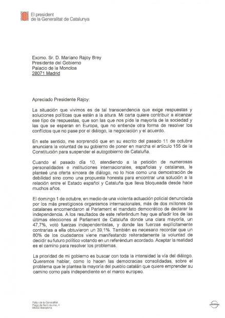 Puigdemont se ríe de Rajoy: no contesta ni 'sí' ni 'no' y provoca que se tenga que aplicar el 155