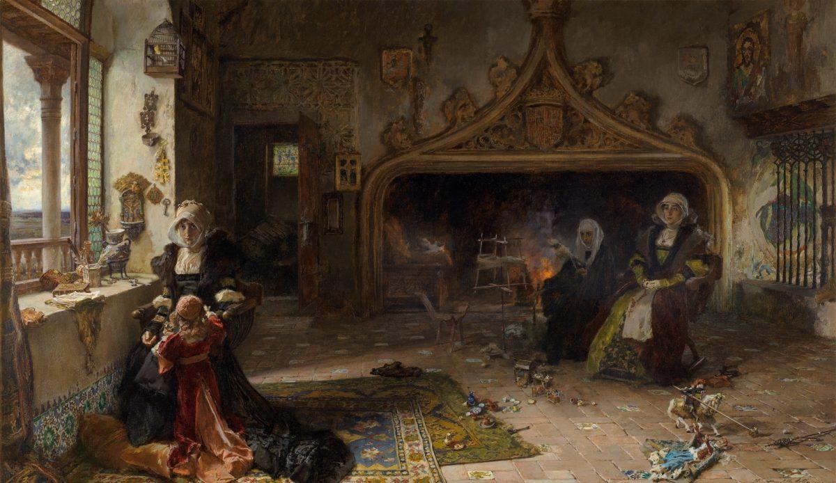 Juana la Loca recluida en Tordesillas con su hija, la infanta doña Catalina.