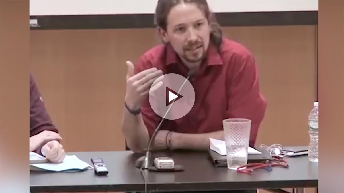 Pablo Iglesias en la City University of New York, tratando de expresarse en inglés en febrero de 2015.